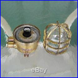 Vintage Brass Wiska Nautical Ship's Ceiling Cage Light Rewired