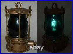 Vintage Bronze Marine Piling Light / Lamp Nautical Dock Green Globe