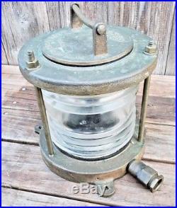 Vintage Bronze Pauluhn White Stern Light Ship Navy Boat Lamp Brass Bridge Channe