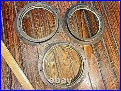 Vintage Cast Bronze Glass Lens Deadlight, Fixed Port Light 8 1/2 Od 6 ID