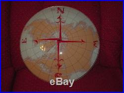 Vintage Ceiling Light Glass ONLY Compass World Map 1908 I-391 Nautical Clean
