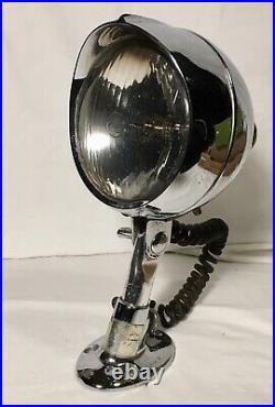 Vintage Chrome Nautical Boat spotlight search light hand op. Round marine lamp