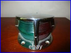 Vintage Chrome Nautical Marine Boat Bow Light- Red & Green- Nice -scarce