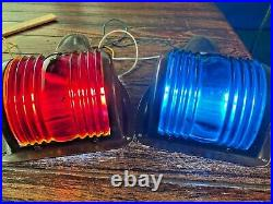 Vintage Clean Pair Perko Bronze Red/green Glass Running Lights New Wiring/leds