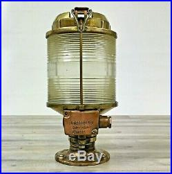 Vintage Clear Lens Brass 12 Inch Tranberg Post Mounted Light Real Ship Salvage
