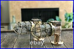 Vintage Copper And Brass Caged Nautical Light Industrial Caged Sconces With Cl