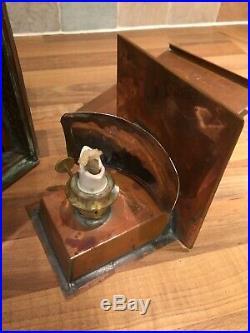 Vintage Copper & Brass Ships Port Oil Lamp Light Maritime Maritime Boat
