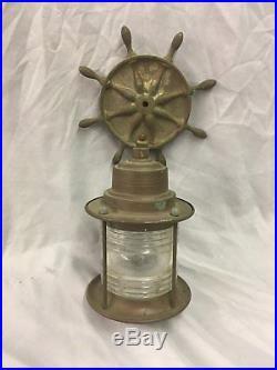 Vintage Copper Brass Ships Wheel Nautical Porch Light Fixture Sconce Old 99-18E