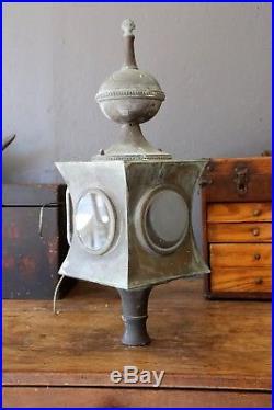Vintage Copper Porch Sconce Light Arts Crafts Glass lens Nautical Ship Whimsical