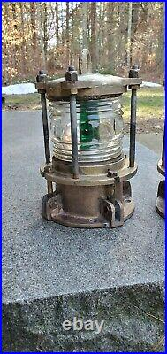 Vintage DOCK PILING LIGHTS One Red & One Green Nautical