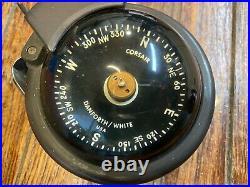 Vintage Danforth/white Bulkhead Mount Corsair Compass, Working Light, No Bubbles