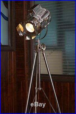 Vintage Designs Light Adjustable Theater Searchlight Tripod Floor Lamp Chrome