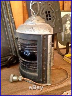 Vintage Electric Red Fresnel Glass Navy Navigational Lantern Perko De-Light
