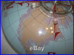 Vintage Glass Nautical World Map Compass Ceiling Light WithRare Ship Wheel Finial