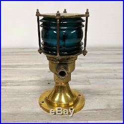 Vintage Green Lens Brass Post Light Great Condition