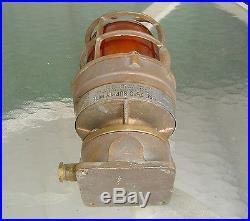 Vintage Heavy Brass Amber Lens Nautical Ship Post Light