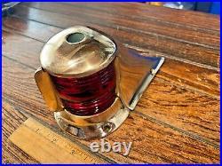 Vintage Heavy Cast Bronze Bow Light Red/green Lens New Socket/led 7 Long