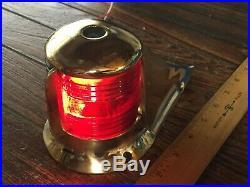 Vintage Heavy Cast Bronze Bow Light, Red/green Lens New Socket/led Bulb 7 Long