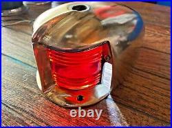 Vintage Heavy Cast Bronze Bow Light/vent! , Red/green Lens New Socket/led 8 Long