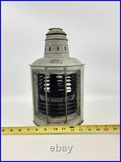 Vintage Helvic's Lamp Nautical Maritime Ship Lantern Boat Light RARE BLUE Lense