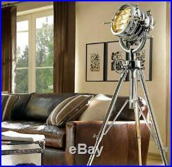 Vintage Industrial DESIGNE Chrome Nautical SPOT LIGHT Tripod Floor LAMP Decor