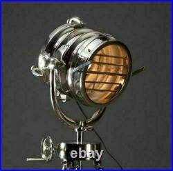 Vintage Industrial DESIGNER Chrome Nautical SPOT LIGHT Tripod Floor LAMP Decor