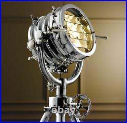 Vintage Industrial DESIGNER Chrome Nautical SPOT LIGHT Tripod Floor LAMP Decor 1