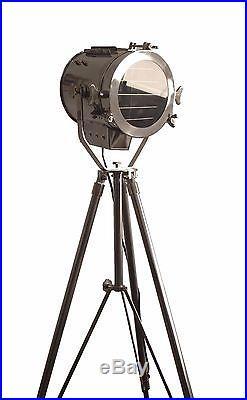 Vintage Industrial Designer Chrome Nautical Spot Light Tripod Floor Ikea Lamp