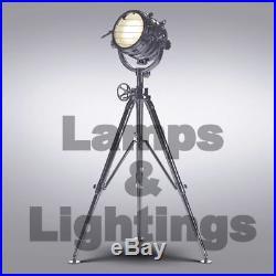 Vintage Industrial Designer Chrome Nautical Spot Light Tripod Floor Lamp Decor /