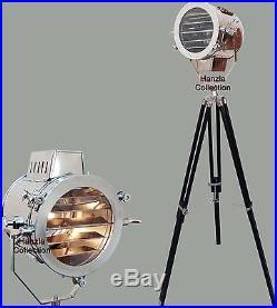 Vintage Industrial Designer Nautical Spot Light Search Light Tripod Floor Lamp
