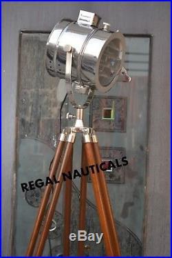 Vintage Industrial Designer Nautical Spot Light Tripod Floor Lamp Decor