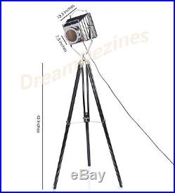 Vintage Industrial Retro Style Spot Light Lamp Wooden Tripod Theatre Photography