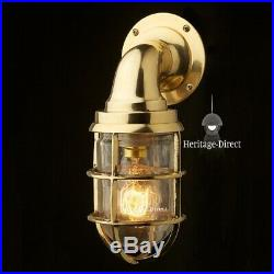 Vintage Industrial Wall Light Antique Retro Cage Bulkhead Gold Brass Ship Lamp