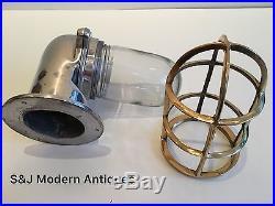 Vintage Industrial Wall Light Brass Aluminium Bulkhead Marine Nautical Ship Lamp