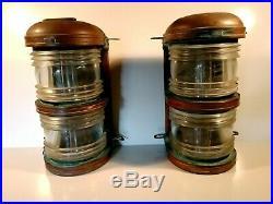 Vintage J. H. Peters & Bey Ship Lanterns Dual Lens Mast Lights Maritime Lamps