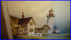 Vintage JOHN HARE Eastern Point Light Glouchester Watercolor Painting