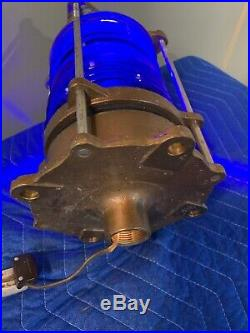 Vintage LL Rowe Blue Nautical Marine Military Piling Light Lamp Fresnel Lens