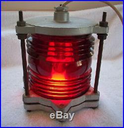 Vintage Large Channel Navigation Lamp Light 360 degree solid glass lens