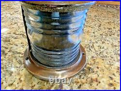 Vintage Large Perko Cast Bronze Glass Steaming, Bow Light New Led Wiring/bulb