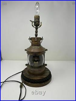 Vintage MASTHEAD Tung-Woo Ships Lantern Lamp With Base Duel Lights
