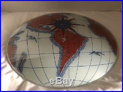 Vintage MCM World Map Globe Ceiling Light Fixture Glass Compass Nautical Rare
