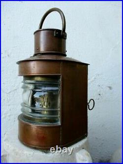 Vintage Marine Nautical Navigation Lantern Old Ship True Copper Oil Lamp Light