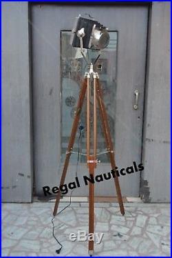 Vintage Marine Search light Floor Lamp Nautical Spot Studio Tripod Floor Lamps