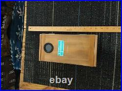 Vintage Maritime Handheld Prism Compass with light & wooden box Japan 1960's