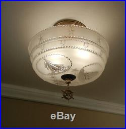Vintage NAUTICAL Ceiling Light 1940s Maritime Sailboat Glass Shade Brass Fixture
