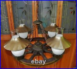 Vintage Nautical Boat Ship Wheel 4 Light Chandelier Light Fixture Ceiling 25