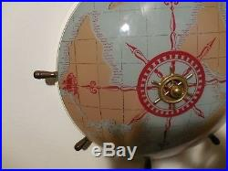 Vintage Nautical Ceiling light fixture with Ship's wheel compass world map globe