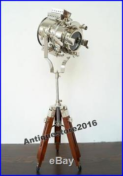 Vintage Nautical Chrome Searchlight With Tripod Stand Spot Light Studio Table Lamp