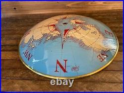 Vintage Nautical Compass World Glass Ceiling Light Shade Brass/Gold Color Trim