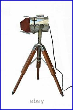 Vintage Nautical Desk Search Light with Wooden Tripod Home Decor Nickle Finish